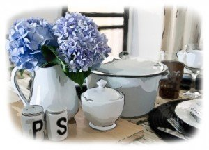 Hydrangeas in the kitchen framed